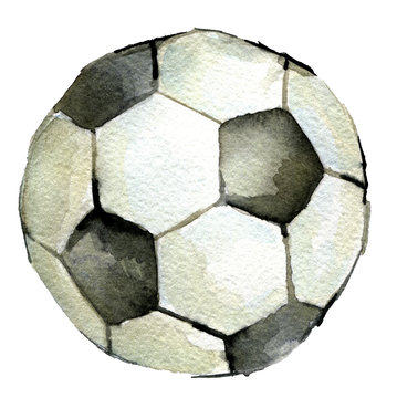 watercolor sketch of soccer ball on white background