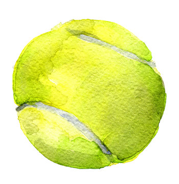 watercolor sketch of tennis ball on white background