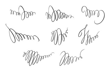 A set of vector freehand spirals for design