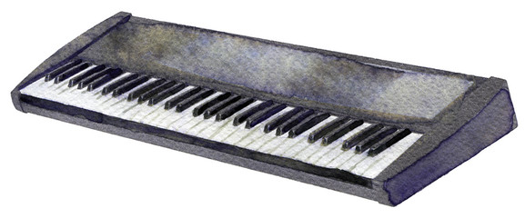 watercolor sketch of synthesizer on white background