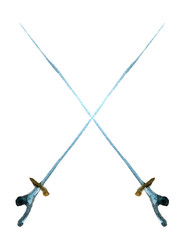 watercolor sketch of pair of rapiers on white background