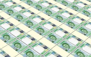 Central African CFA franc bills stacked background. 3D illustration.