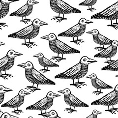 Doodle cute ravens vector seamless pattern.