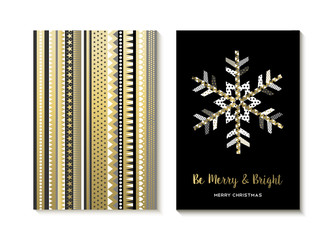 Luxury gold Christmas card design of snowflake