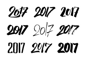 New Year 2017 hand drawn calligraphy numbers set for greeting cards decoration. Typography design for Chinese Year of the Rooster. Vector illustration.