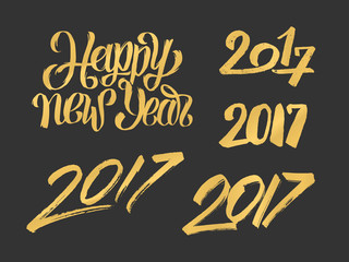 Happy New Year 2017 hand drawn calligraphy numbers set for greeting cards decoration. Typography design for Chinese Year of the Rooster. Vector illustration.
