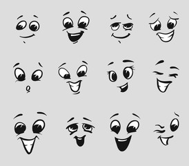 Twelf Happy Cartoon Expressions Faces