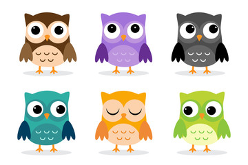 Set of six cartoon owls with various emotions. Vector illustration