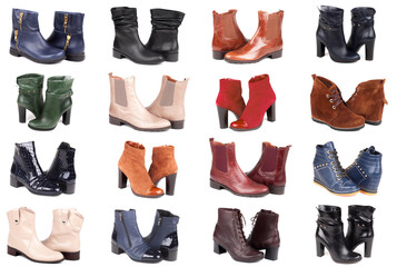 collage of modern fashionable women boots shot in studio, isolated on white