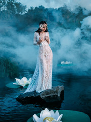 Charming, sexy lady, stands on a huge stone in water