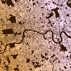 London Two-Tone Map Artprint