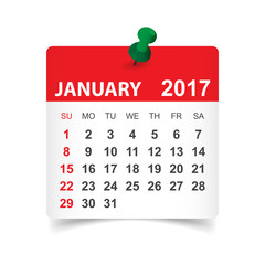 January 2017. Calendar vector illustration