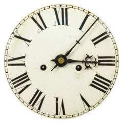 Vintage clock face with roman numbers