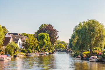 Historic houses alongside the Dutch river Vecht
