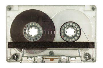 Transparent audio compact cassette isolated on white