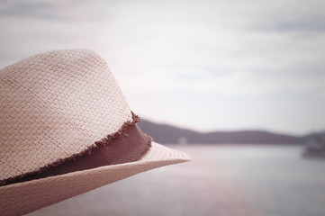 Hat And Sea Side View In Vintage Style