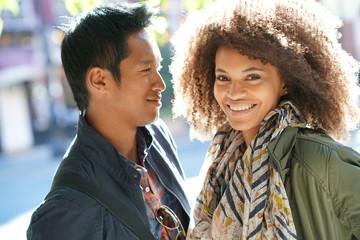 Mixed-race couple enjoying journey in New York