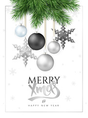 vector illustration of fir-tree branches with hanging christmas ornaments and stars and greeting hand lettering label - Merry Christmas