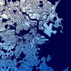 Boston Two-Tone Map Artprint