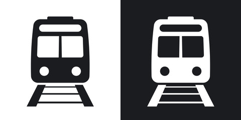 Vector train icon. Two-tone version on black and white background Fotomurales