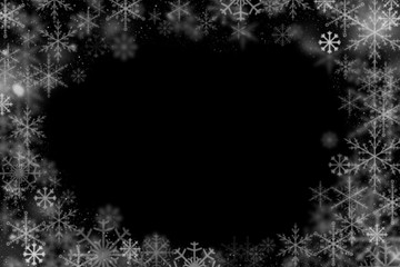 Winter frame of snowflakes