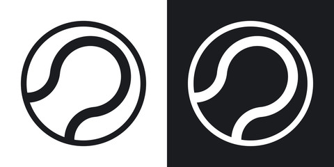 Vector tennis ball icon. Two-tone version on black and white background
