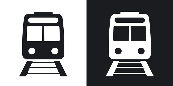 Vector train icon. Two-tone version on black and white background