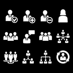 The management icon, set of 12 icons. Team and group, teamwork, people, alliance, management symbol. UI. Web. Logo. Sign. Flat design. App.