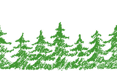 Crayon child's drawing merry christmas tree pattern on white. Hand painting pastel chalk green color. Kids drawing vector seamless background. Repeat christmas fir-tree.