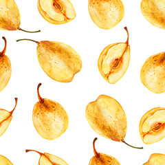 Watercolor yellow chinese whole pear, half pear isolated on white background, seamless pattern, decorative texture hand drawn food, juicy ingredient, natural vegetarian fruit for design cosmetic