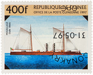 "Old Italian warship ""Mouillage"" (1866) on postage stamp"