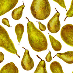 Watercolor pear ?onference isolated on white background, seamless pattern, decorative texture hand drawn food element, juicy ingredient, organic natural vegetarian fruit for design cosmetic, page menu