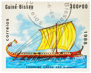 Ancient Greek trireme on postage stamp