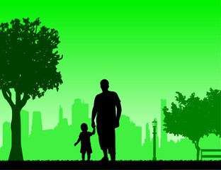 Father walking with his child in park, one in the series of similar images silhouette