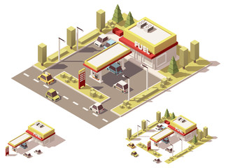 Vector isometric low poly filling station