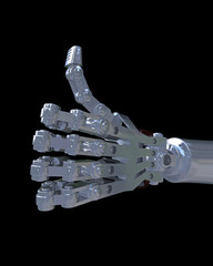 3D illustration of a robot hand giving a thumbs up approval sign.