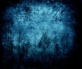 Blue Abstract Grunge Background With Trees