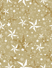 Beige seamless pattern background with snowflakes and stars,  ve