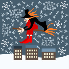 redheaded woman witch Befana sitting on a broomstick flying over the city during a blizzard - Italian folk Epiphany tradition