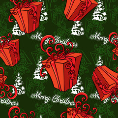 Gift box, vector image seamless background