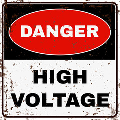 High Voltage. Danger Sign. Vector