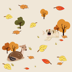 Autumn pattern wallpaper tight