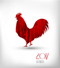 2017 New Year of rooster. Stylized red rooster on a light background. Vector illustration