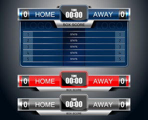 box scoreboard sport game for football and soccer, vector illustration