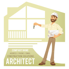 Architect in helmet with blueprints and keys in hand against background of constructed house, cottage. Character Construction  Engineer. Concept for banner, business card.