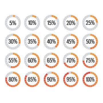 set elementi grafici percentuale