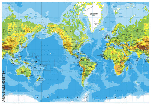 America centered physical world map stock image and royalty free america centered physical world map gumiabroncs Image collections