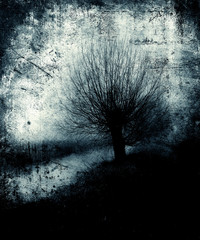 Scary Tree. Beautiful vintage grunge mystical landscape. Halloween wallpaper