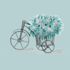 Old retro blue bicycle with flowers bouquet in basket. Vintage style ideal for wedding design