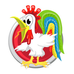 Rooster. Orient horoscope sign isolated in circle